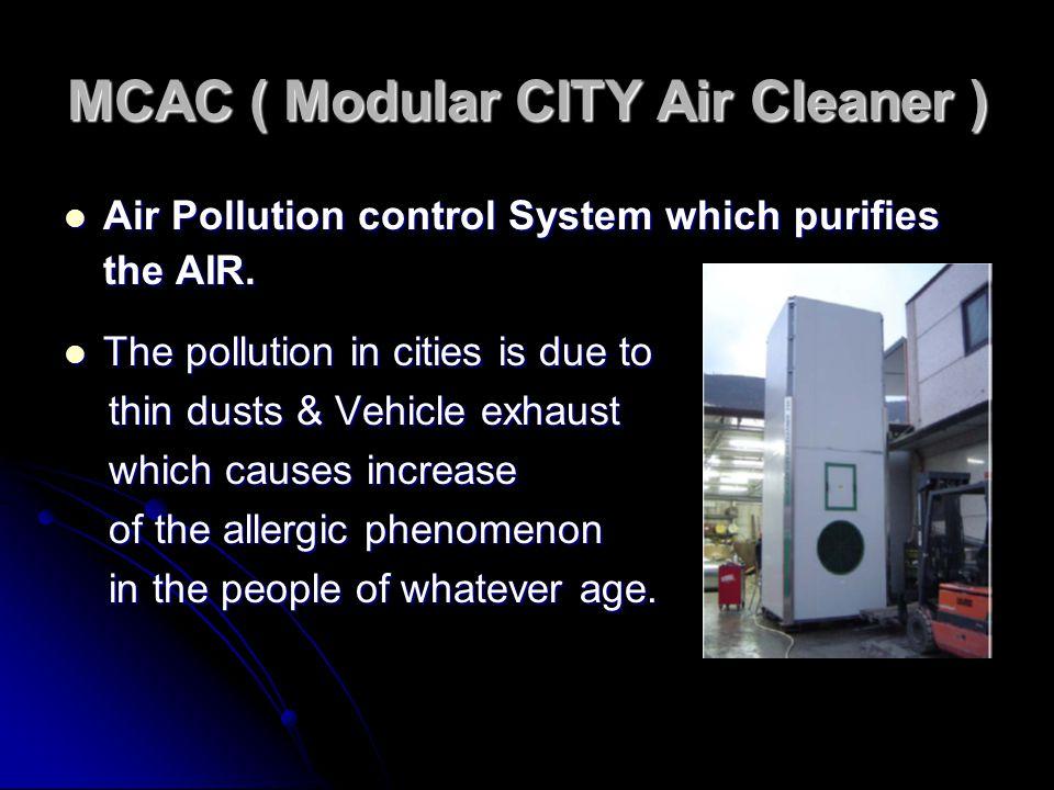 MCAC ( Modular CITY Air Cleaner ) Air Pollution control System which purifies the AIR. Air Pollution control System which purifies the AIR. The pollut