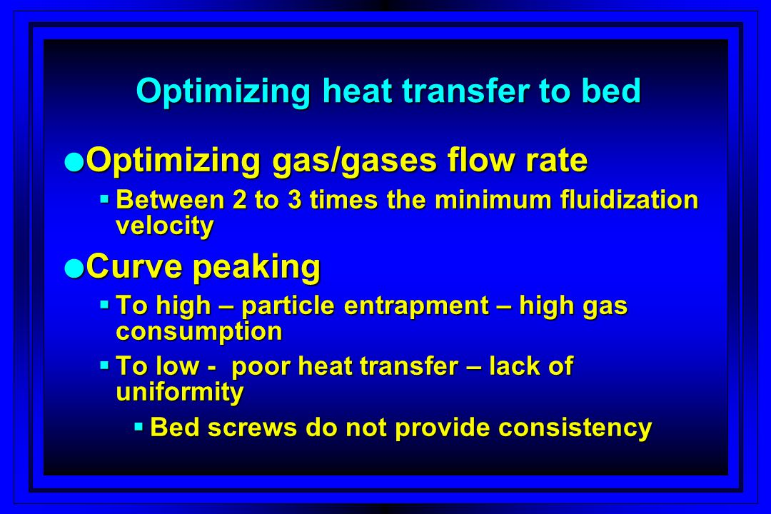 Relationship of gas fluidization velocity to heat transfer rate Heat transfer rate falls off rapidly