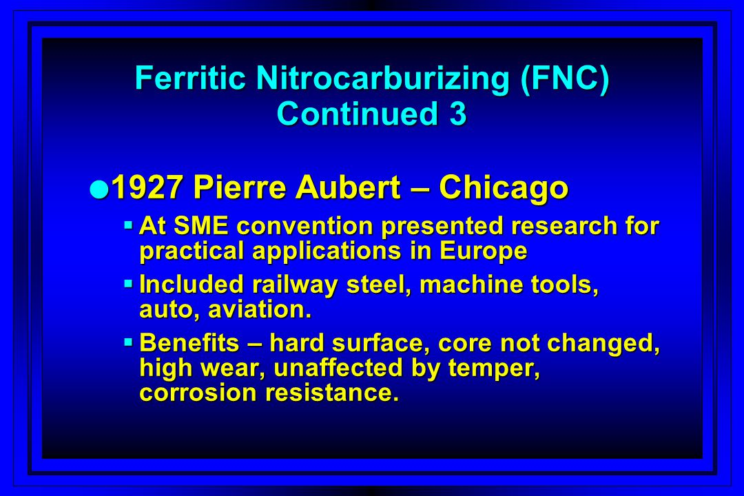 l 1927 Pierre Aubert – Chicago At SME convention presented research for practical applications in Europe At SME convention presented research for prac