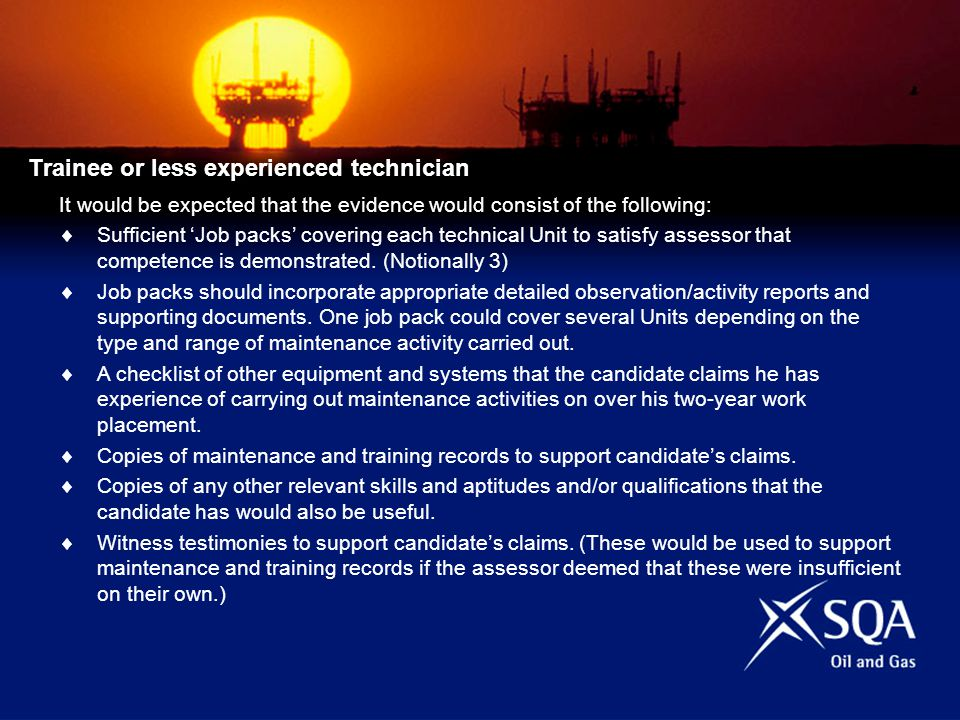 Trainee or less experienced technician It would be expected that the evidence would consist of the following: Sufficient Job packs covering each technical Unit to satisfy assessor that competence is demonstrated.
