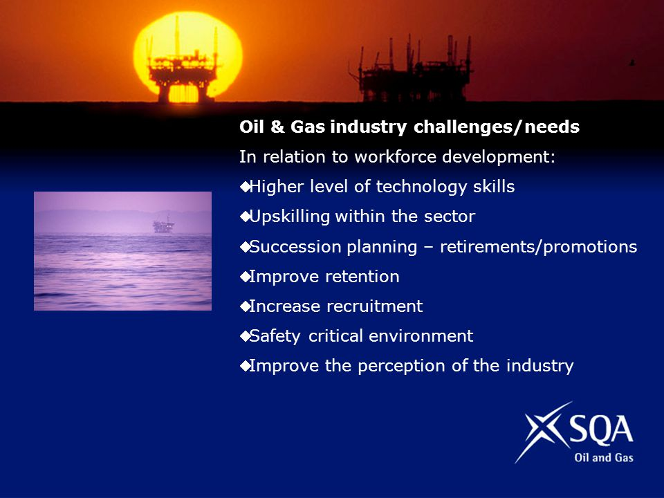 Oil & Gas industry challenges/needs In relation to workforce development: Higher level of technology skills Upskilling within the sector Succession planning – retirements/promotions Improve retention Increase recruitment Safety critical environment Improve the perception of the industry