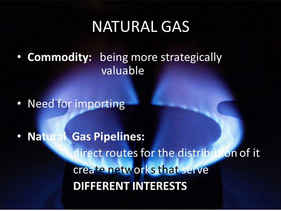 NATURAL GAS Commodity: being more strategically valuable Need for importing Natural Gas Pipelines: direct routes for the distribution of it create networks that serve DIFFERENT INTERESTS
