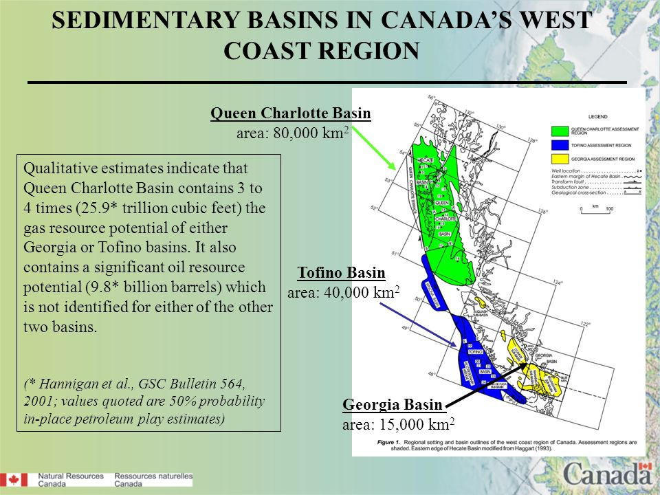 SEDIMENTARY BASINS IN CANADAS WEST COAST REGION Qualitative estimates indicate that Queen Charlotte Basin contains 3 to 4 times (25.9* trillion cubic feet) the gas resource potential of either Georgia or Tofino basins.