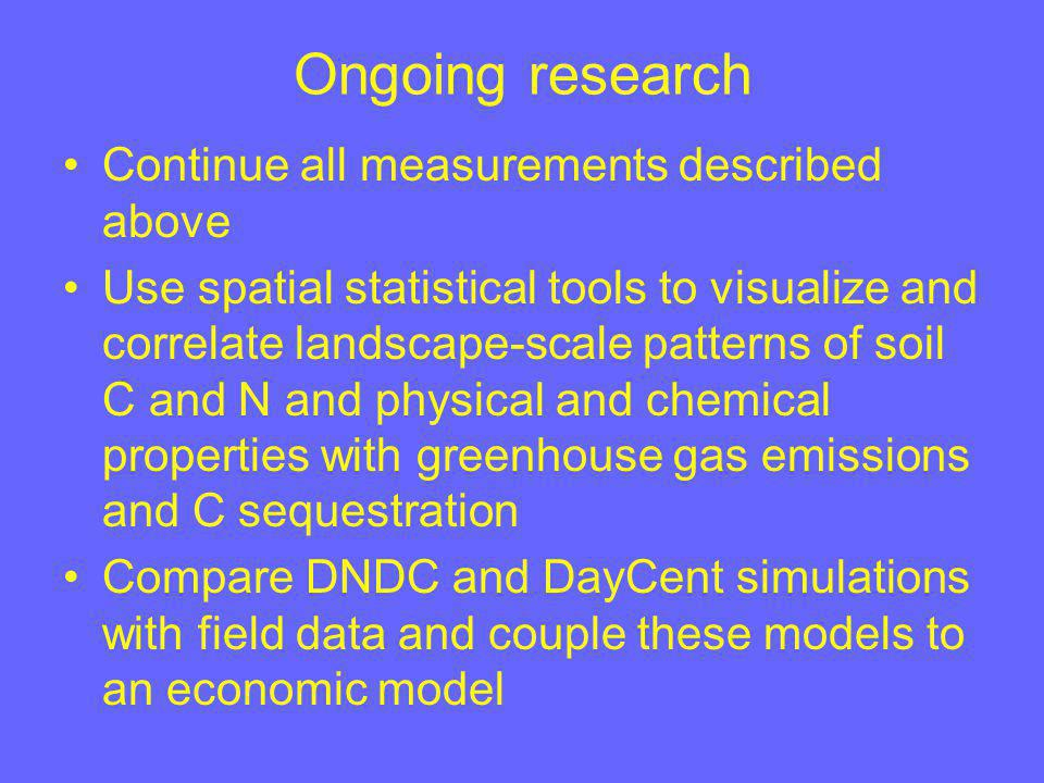 Ongoing research Continue all measurements described above Use spatial statistical tools to visualize and correlate landscape-scale patterns of soil C and N and physical and chemical properties with greenhouse gas emissions and C sequestration Compare DNDC and DayCent simulations with field data and couple these models to an economic model