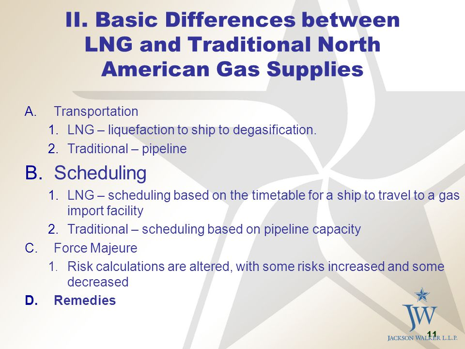 11 II. Basic Differences between LNG and Traditional North American Gas Supplies A.Transportation 1.LNG – liquefaction to ship to degasification. 2.Tr