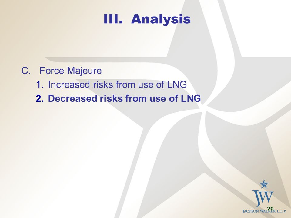 20 III. Analysis C.Force Majeure 1.Increased risks from use of LNG 2.Decreased risks from use of LNG