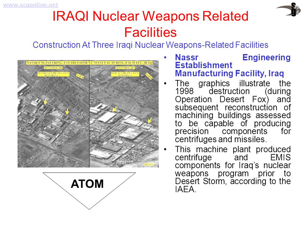 IRAQI Nuclear Weapons Related Facilities Construction At Three Iraqi Nuclear Weapons-Related Facilities Nassr Engineering Establishment Manufacturing