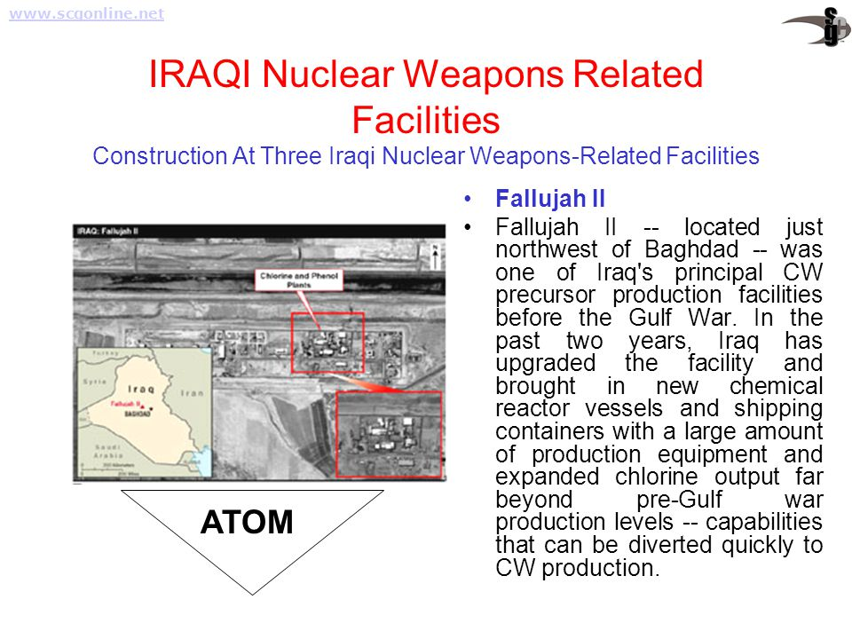 IRAQI Nuclear Weapons Related Facilities Construction At Three Iraqi Nuclear Weapons-Related Facilities Fallujah II Fallujah II -- located just northw