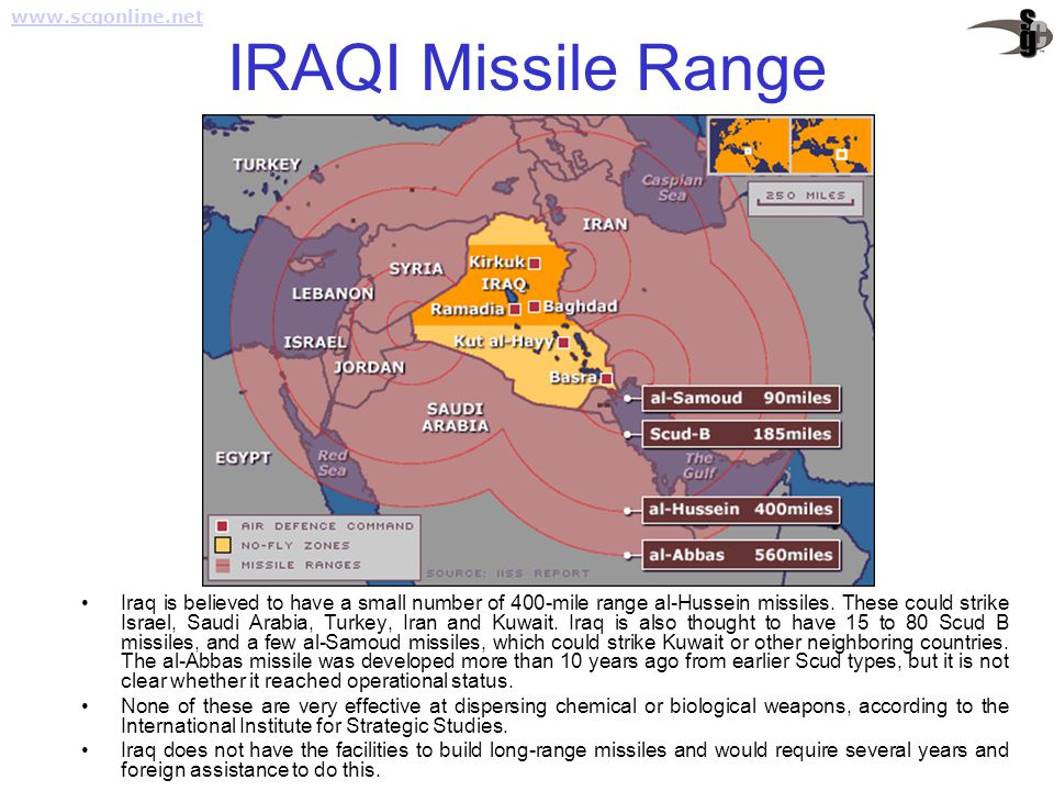 IRAQI Missile Range Iraq is believed to have a small number of 400-mile range al-Hussein missiles. These could strike Israel, Saudi Arabia, Turkey, Ir