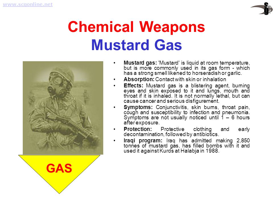 Chemical Weapons Mustard Gas Mustard gas: 'Mustard' is liquid at room temperature, but is more commonly used in its gas form - which has a strong smel