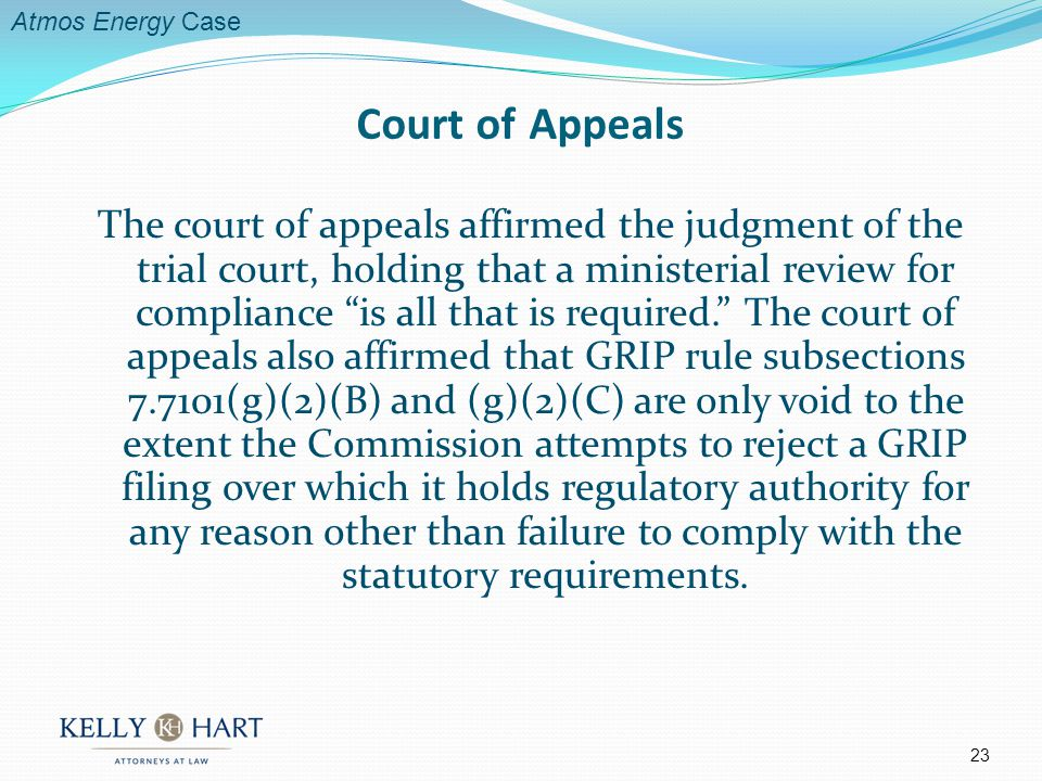 The court of appeals affirmed the judgment of the trial court, holding that a ministerial review for compliance is all that is required.