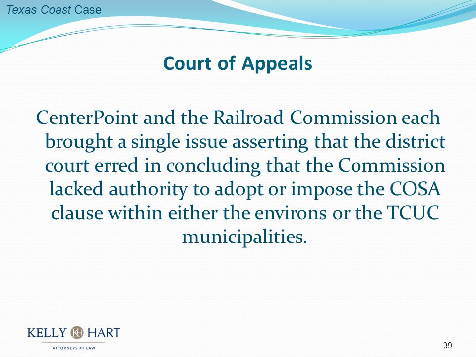 CenterPoint and the Railroad Commission each brought a single issue asserting that the district court erred in concluding that the Commission lacked authority to adopt or impose the COSA clause within either the environs or the TCUC municipalities.