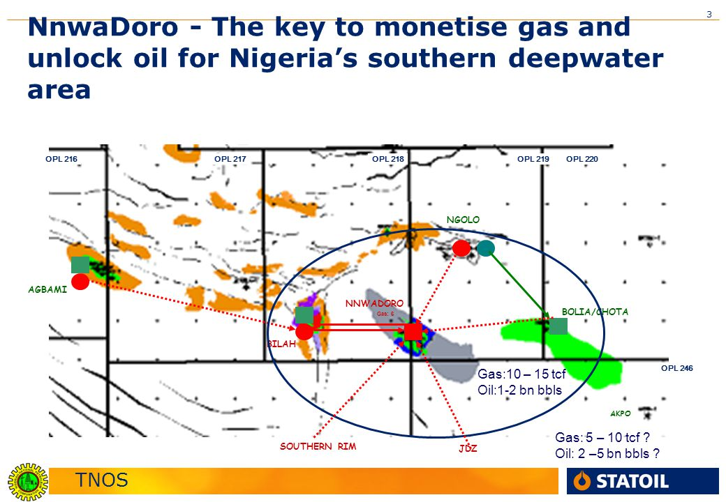 TNOS 3 OPL 217OPL 216OPL 218OPL 219 OPL 246 OPL 220 AGBAMI BOLIA/CHOTA NGOLO NNWADORO BILAH Gas: 6 AKPO NnwaDoro - The key to monetise gas and unlock