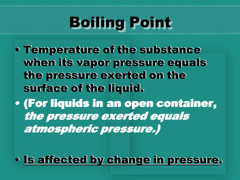 Freezing point Temperature of a liquid when it begins to form a crystal lattice and becomes a solid.