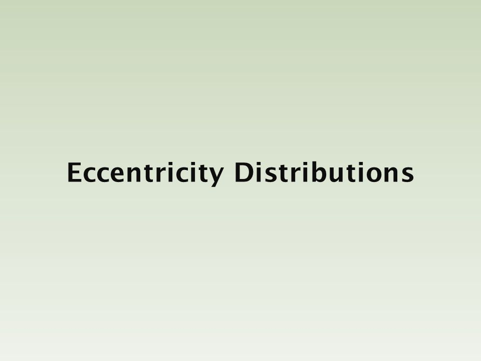Eccentricity Distributions