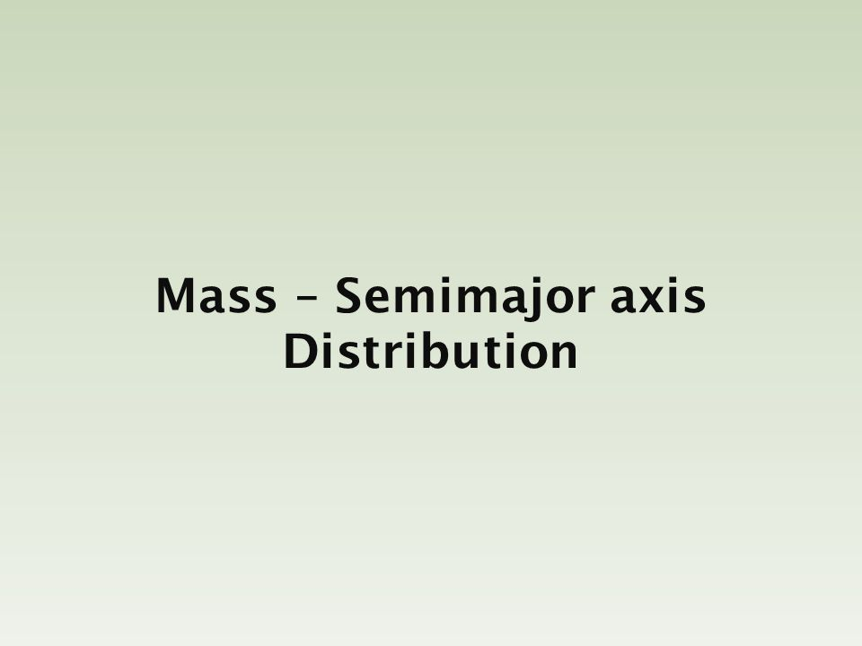 Mass – Semimajor axis Distribution
