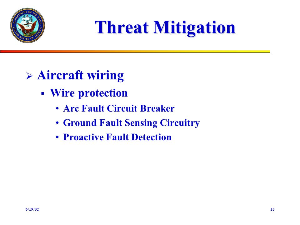 6/19/0215 Threat Mitigation Aircraft wiring Wire protection Arc Fault Circuit Breaker Ground Fault Sensing Circuitry Proactive Fault Detection