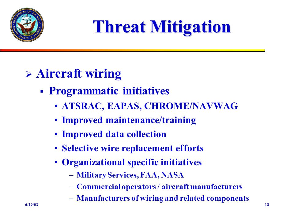 6/19/0218 Threat Mitigation Aircraft wiring Programmatic initiatives ATSRAC, EAPAS, CHROME/NAVWAG Improved maintenance/training Improved data collecti