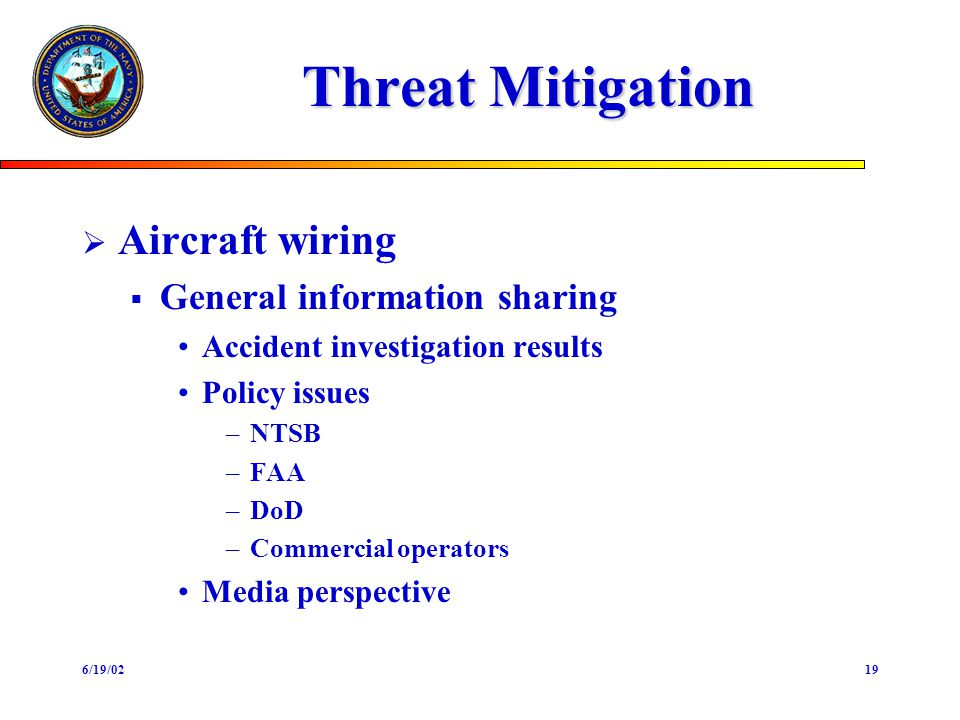 6/19/0219 Threat Mitigation Aircraft wiring General information sharing Accident investigation results Policy issues –NTSB –FAA –DoD –Commercial opera