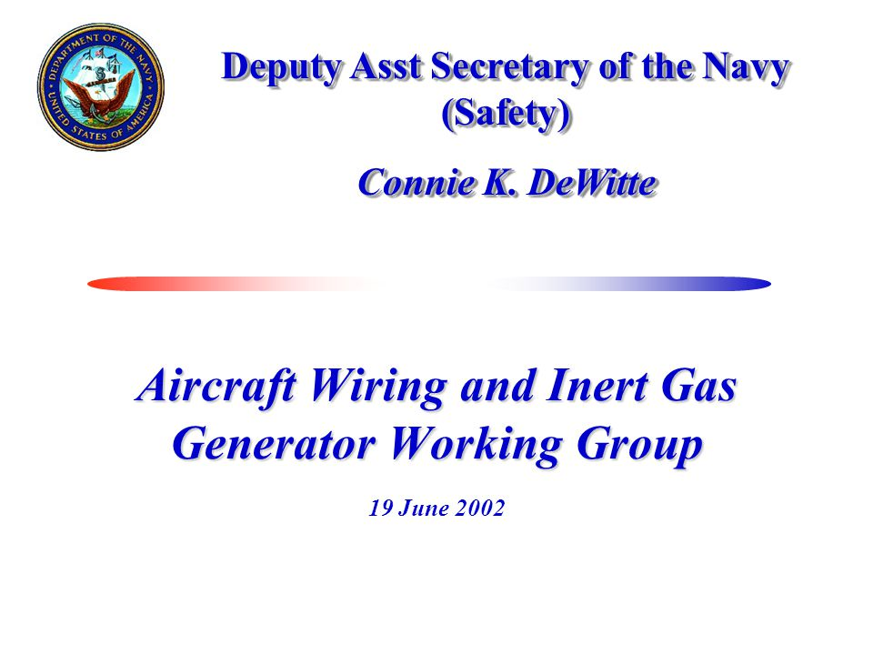Aircraft Wiring and Inert Gas Generator Working Group 19 June 2002 Deputy Asst Secretary of the Navy (Safety) Connie K.
