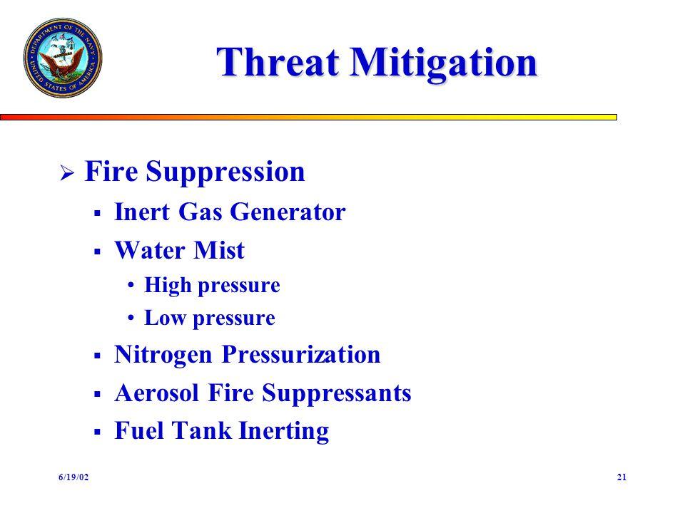 6/19/0221 Threat Mitigation Fire Suppression Inert Gas Generator Water Mist High pressure Low pressure Nitrogen Pressurization Aerosol Fire Suppressants Fuel Tank Inerting