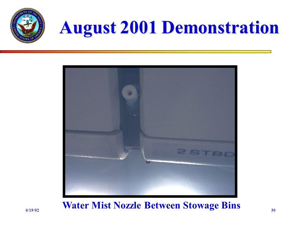 6/19/0230 August 2001 Demonstration Water Mist Nozzle Between Stowage Bins