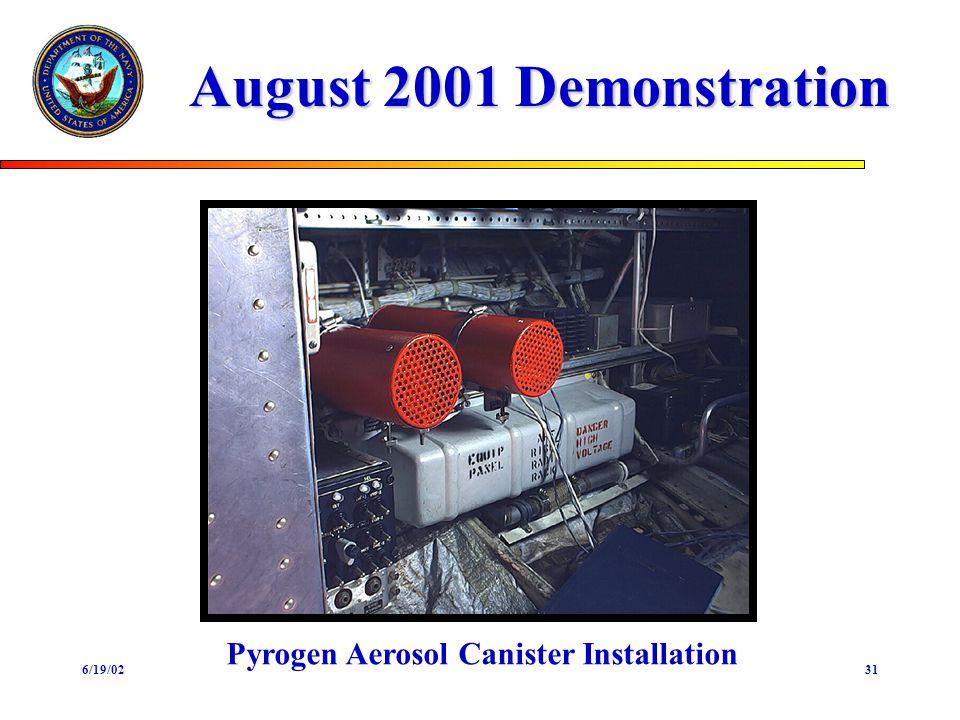 6/19/0231 August 2001 Demonstration Pyrogen Aerosol Canister Installation