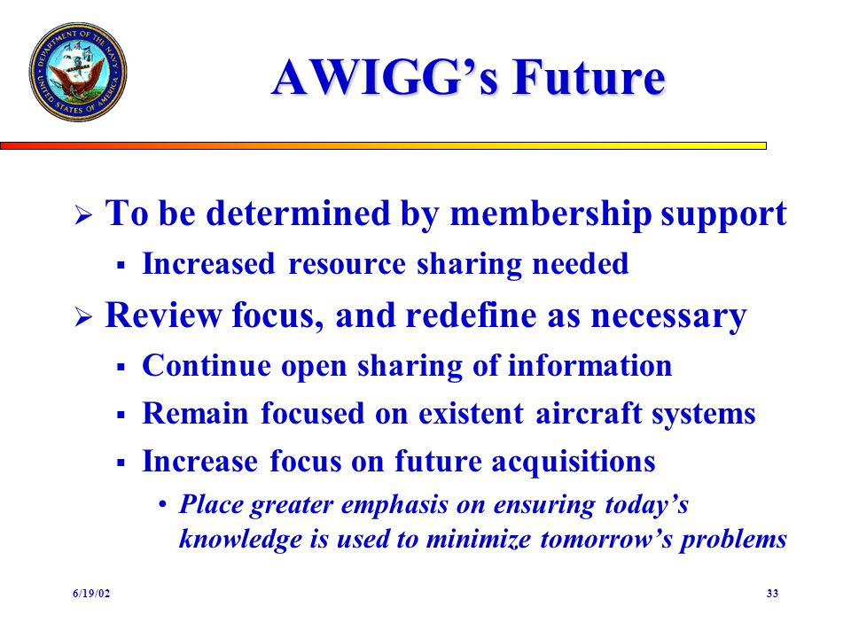 6/19/0233 AWIGGs Future To be determined by membership support Increased resource sharing needed Review focus, and redefine as necessary Continue open