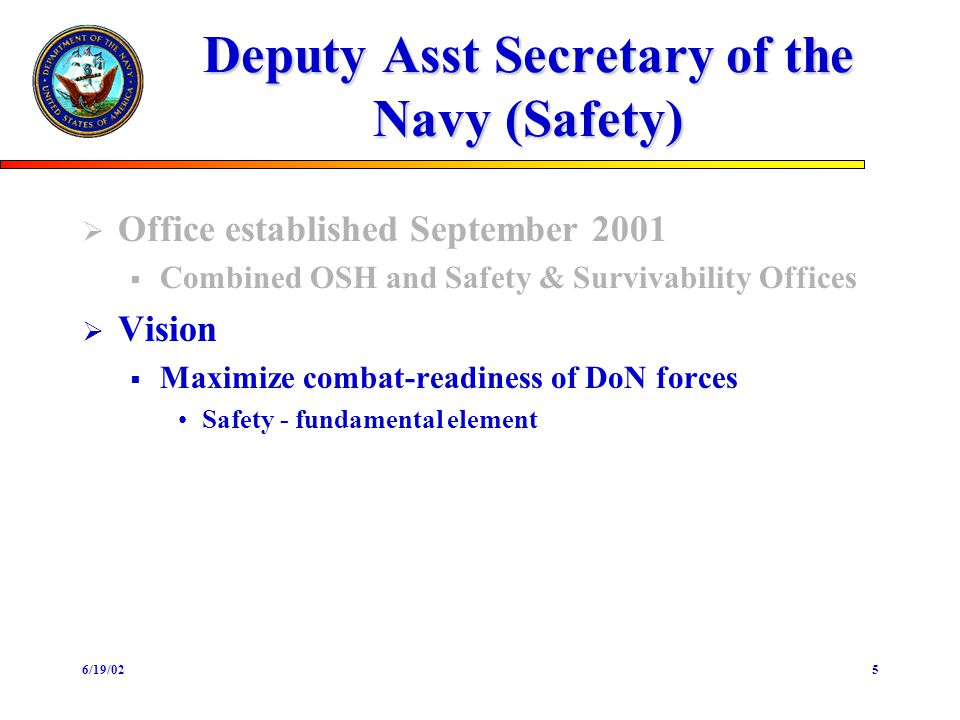 6/19/025 Deputy Asst Secretary of the Navy (Safety) Office established September 2001 Combined OSH and Safety & Survivability Offices Vision Maximize