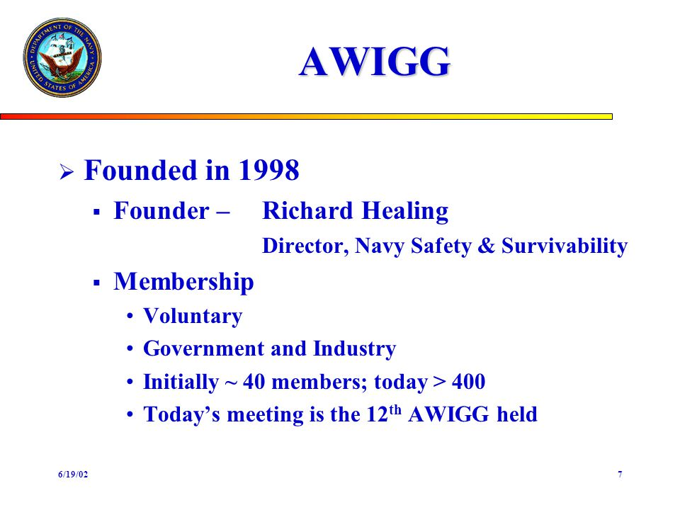 6/19/027 AWIGG Founded in 1998 Founder –Richard Healing Director, Navy Safety & Survivability Membership Voluntary Government and Industry Initially ~
