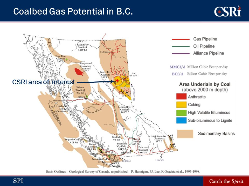 SPI Coalbed Gas Potential in B.C. CSRI area of interest