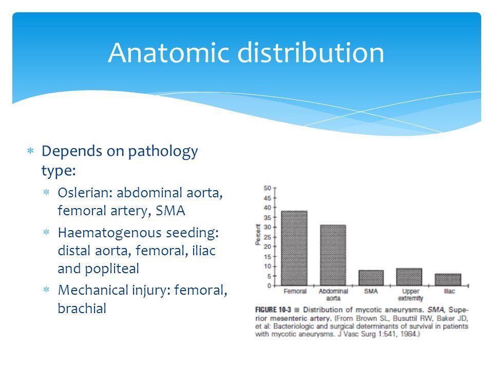Depends on pathology type: Oslerian: abdominal aorta, femoral artery, SMA Haematogenous seeding: distal aorta, femoral, iliac and popliteal Mechanical