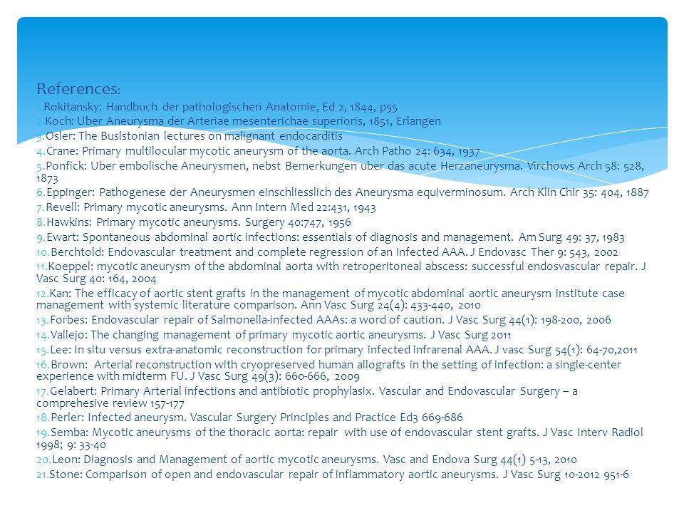 References : 1.Rokitansky: Handbuch der pathologischen Anatomie, Ed 2, 1844, p55 2.Koch: Uber Aneurysma der Arteriae mesenterichae superioris, 1851, Erlangen 3.Osler: The Buslstonian lectures on malignant endocarditis 4.Crane: Primary multilocular mycotic aneurysm of the aorta.