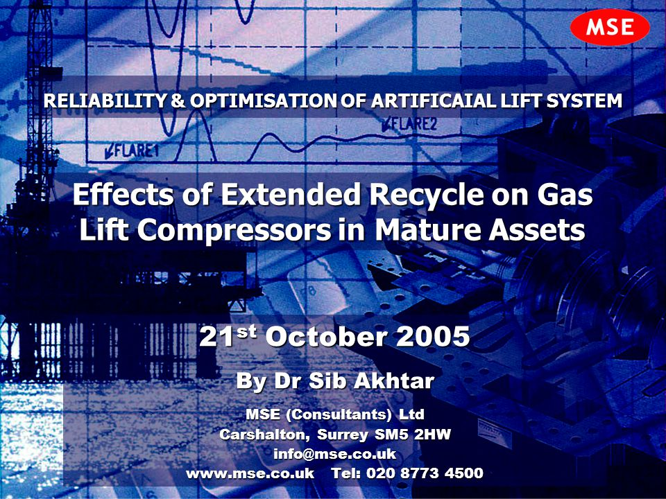 RELIABILITY & OPTIMISATION OF ARTIFICAIAL LIFT SYSTEM 21 st October 2005 By Dr Sib Akhtar MSE (Consultants) Ltd Carshalton, Surrey SM5 2HW info@mse.co
