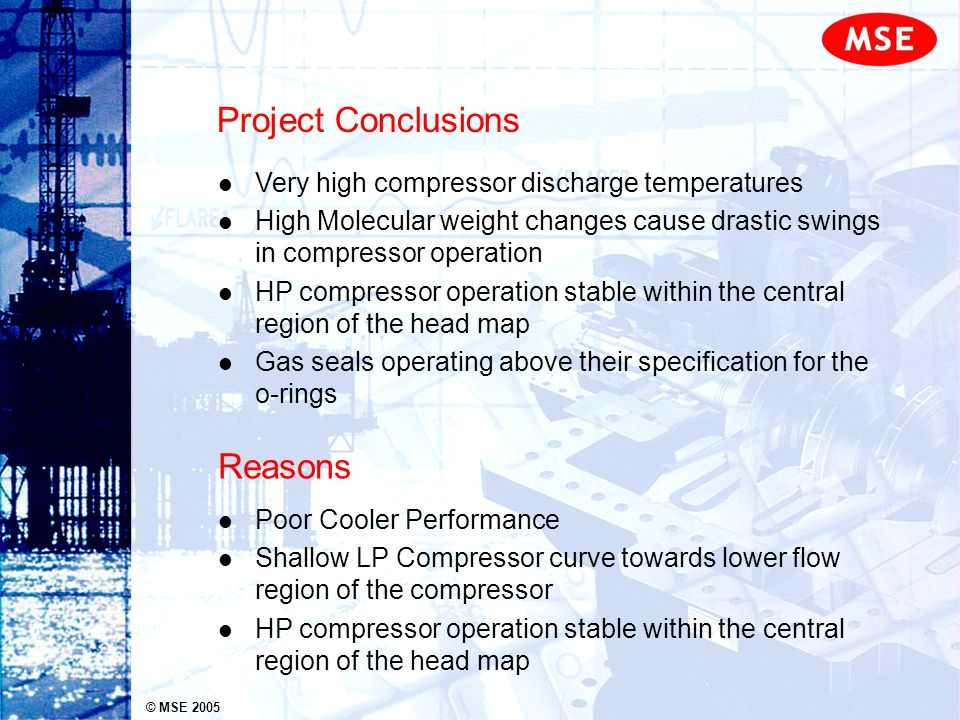 © MSE 2005 Project Conclusions Very high compressor discharge temperatures High Molecular weight changes cause drastic swings in compressor operation