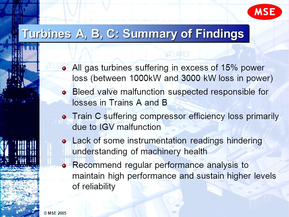 © MSE 2005 Turbines A, B, C: Summary of Findings All gas turbines suffering in excess of 15% power loss (between 1000kW and 3000 kW loss in power) Ble
