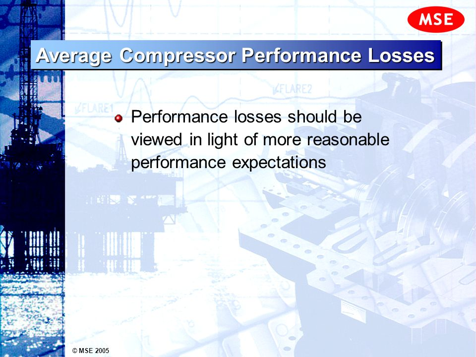 © MSE 2005 Average Compressor Performance Losses Performance losses should be viewed in light of more reasonable performance expectations