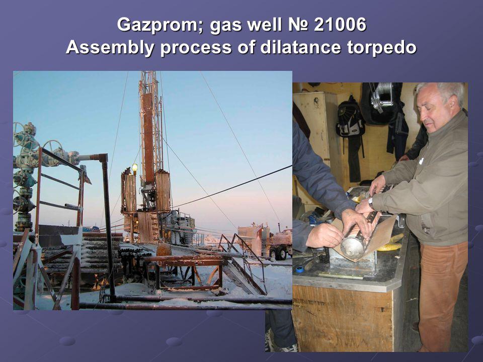 Gazprom; gas well 21006 Assembly process of dilatance torpedo