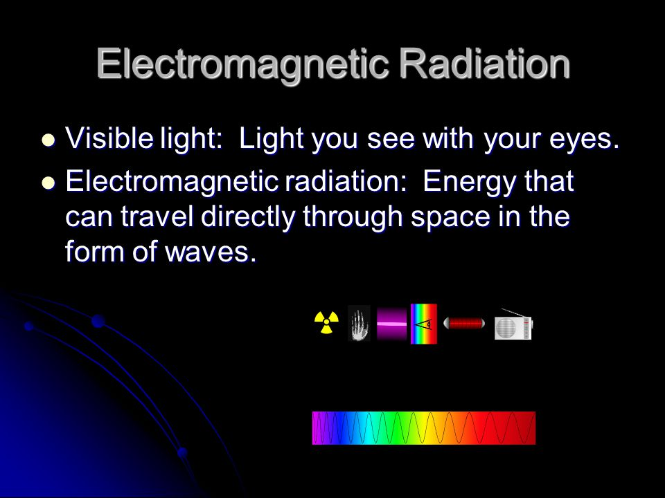 Electromagnetic Spectrum Wavelength: The distance between the crest of one wave and the crest of the next wave.