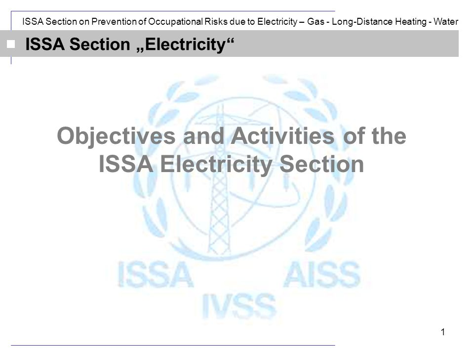 ISSA Section on Prevention of Occupational Risks due to Electricity – Gas - Long-Distance Heating - Water 1 ISSA Section Electricity Objectives and Activities of the ISSA Electricity Section