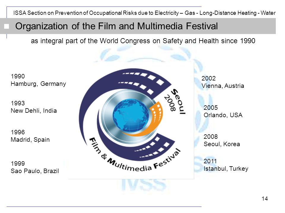 ISSA Section on Prevention of Occupational Risks due to Electricity – Gas - Long-Distance Heating - Water 14 Organization of the Film and Multimedia Festival as integral part of the World Congress on Safety and Health since 1990 1990 Hamburg, Germany 2005 Orlando, USA 1993 New Dehli, India 1996 Madrid, Spain 1999 Sao Paulo, Brazil 2002 Vienna, Austria 2008 Seoul, Korea 2011 Istanbul, Turkey