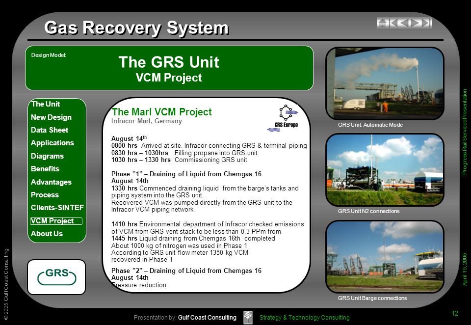 © 2005 Gulf Coast Consulting Presentation by: Gulf Coast Consulting April 19, 2005 The Unit New Design Data Sheet Applications Diagrams Benefits Advantages Process Clients-SINTEF VCM Project About Us Strategy & Technology Consulting Gas Recovery System Progress Rail Services Presentation 12 The GRS Unit VCM Project GRS Unit N2 connections GRS Unit Barge connections Design Model: GRS Unit: Automatic Mode The Marl VCM Project Infracor Marl, Germany August 14 th 0800 hrs Arrived at site.