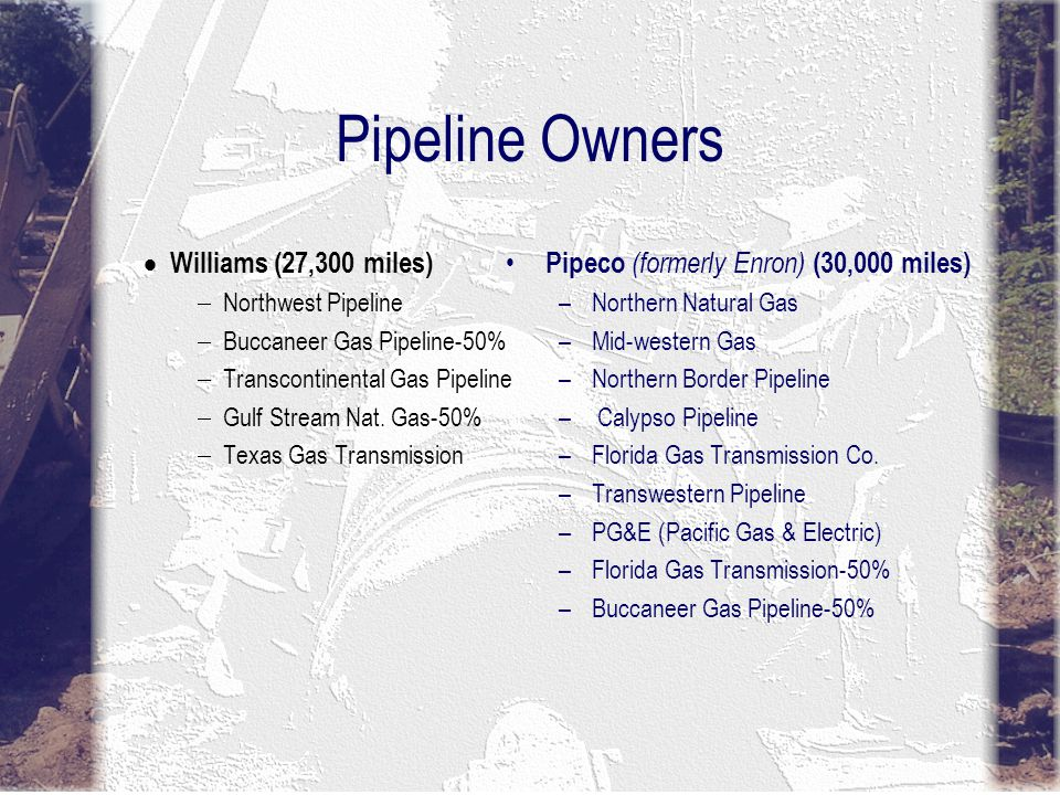 Pipeline Owners Kinder Morgan (30,000 miles) Natural Gas Pipeline Co.