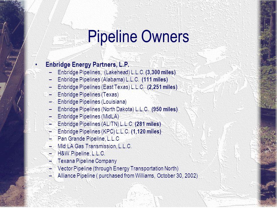 Pipeline Owners Enbridge Energy Partners, L.P. –Enbridge Pipelines, (Lakehead) L.L.C.
