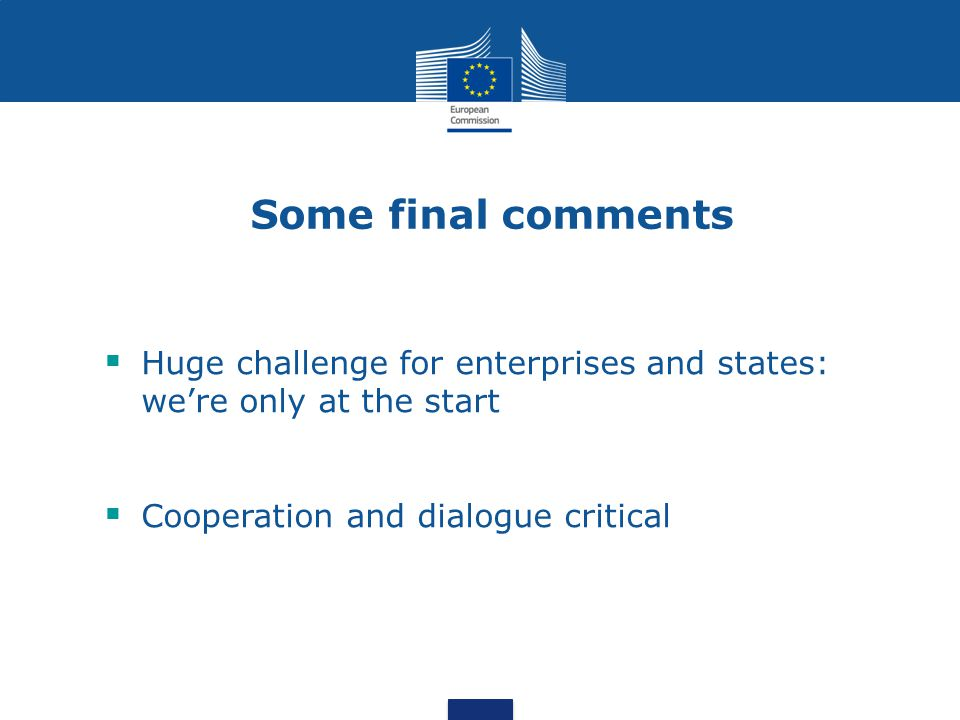 Some final comments Huge challenge for enterprises and states: were only at the start Cooperation and dialogue critical