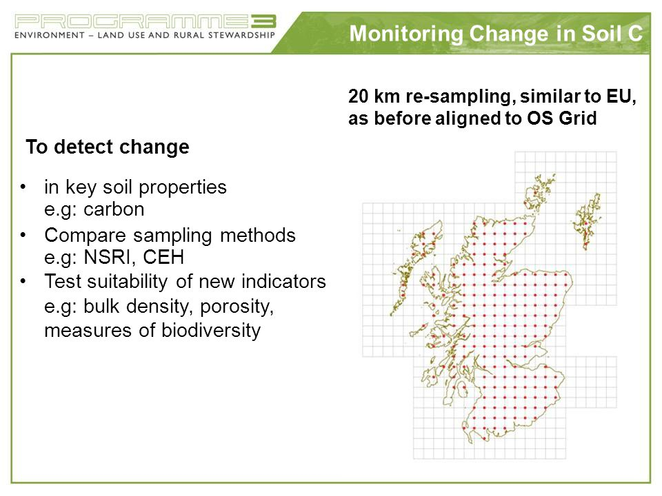 Monitoring Change in Soil C To detect change in key soil properties e.g: carbon Compare sampling methods e.g: NSRI, CEH Test suitability of new indica