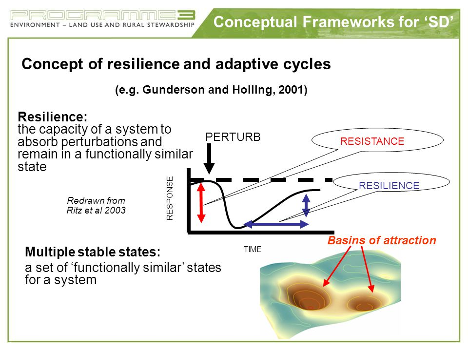 Conceptual Frameworks for SD Concept of resilience and adaptive cycles (e.g. Gunderson and Holling, 2001) Resilience: the capacity of a system to abso