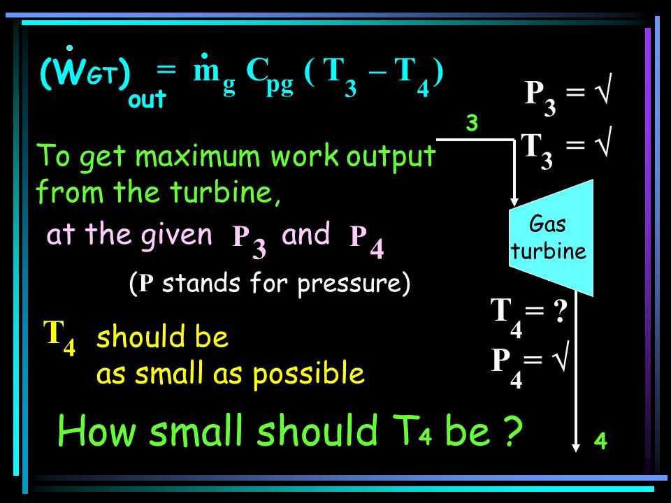 3 T 4 T 3 = 4 = ? P 4 = P 3 = should be as small as possible T 4 How small should T 4 be ? (W GT ) out = m C ( T – T ) 34 gpg Gas turbine To get maxim