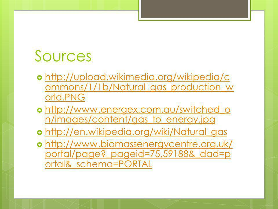 Sources http://upload.wikimedia.org/wikipedia/c ommons/1/1b/Natural_gas_production_w orld.PNG http://upload.wikimedia.org/wikipedia/c ommons/1/1b/Natural_gas_production_w orld.PNG http://www.energex.com.au/switched_o n/images/content/gas_to_energy.jpg http://www.energex.com.au/switched_o n/images/content/gas_to_energy.jpg http://en.wikipedia.org/wiki/Natural_gas http://www.biomassenergycentre.org.uk/ portal/page _pageid=75,59188&_dad=p ortal&_schema=PORTAL http://www.biomassenergycentre.org.uk/ portal/page _pageid=75,59188&_dad=p ortal&_schema=PORTAL
