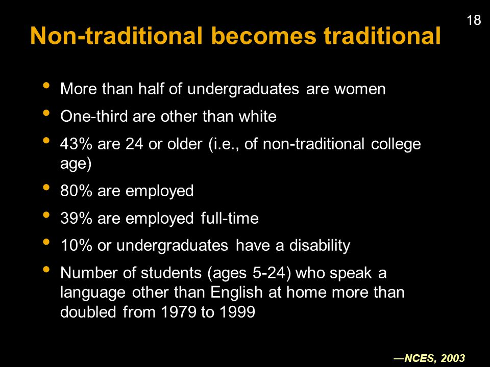 18 Non-traditional becomes traditional More than half of undergraduates are women One-third are other than white 43% are 24 or older (i.e., of non-traditional college age) 80% are employed 39% are employed full-time 10% or undergraduates have a disability Number of students (ages 5-24) who speak a language other than English at home more than doubled from 1979 to 1999 NCES, 2003